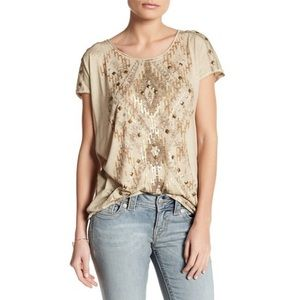 Miss Me Knotted Back Fringe Metallic Studded Tee M